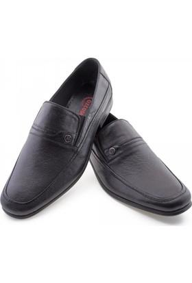 Özcoşkun Siyah Baskılı Deri Dikiş Detaylı Klasik Erkek Ayakkabı