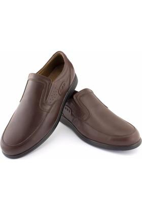 Güvenal Kahve Burnu Dikişli Lastikli Ortopedik Diyabetik Erkek Ayakkabı