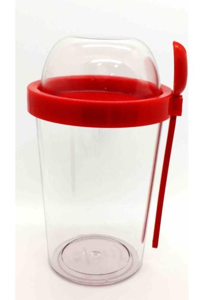 Poppard Capsule 450 ML + 100 ML Granola Atıştırmalık Kabı - Kırmızı