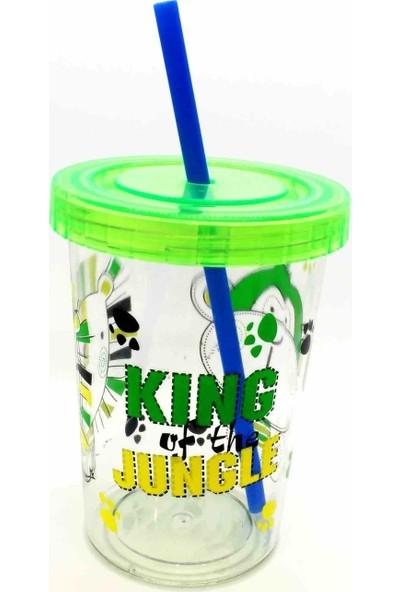 Poppard Chilly Jungle Desenli 450 ml Yeşil Pipetli Bardak