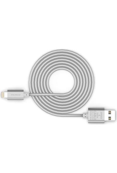 Pineng PN-305 iPhone Lightning 1 Metre Örgülü Gümüş Kablo