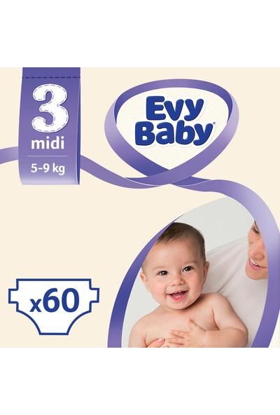 Evy Baby Bebek Bezi 3 Beden Midi Dev Paket 60 Adet