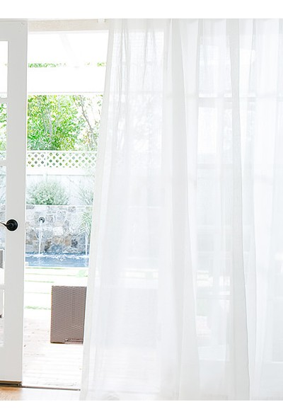 Belle Cose Kullanıma Hazır Pilesiz Beyaz Keten Tül Perde 100 x 250 cm
