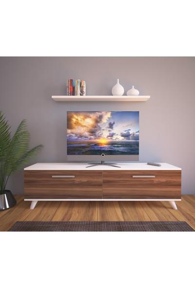 Nur Mobilya Güney Tv Ünitesi ve Tv Sehpası Beyaz-Ceviz
