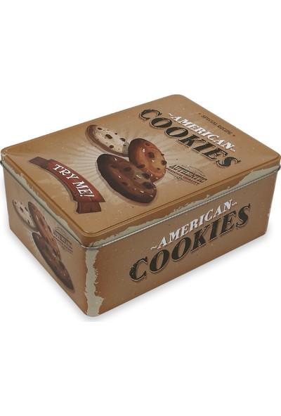 Koopman Metal Çok Amaçlı Saklama Kutusu Dekoratif Kare Cookies