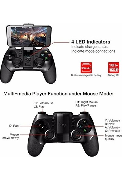 İpega 9076 Kablosuz Bluetooth Joystick Oyun Konsolu - Kolu iOS-Android-PS3-PC-Smart TV ile Uyumlu