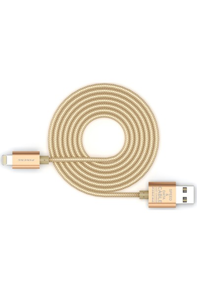 Pineng PN-305 iPhone Lightning 2 Metre Örgülü Altın Kablo