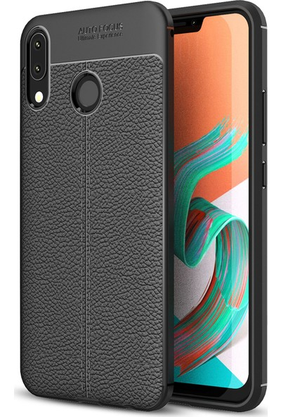 Microsonic Asus Zenfone 5Z (6.2'') ZS620KL Kılıf Deri Dokulu Silikon Siyah