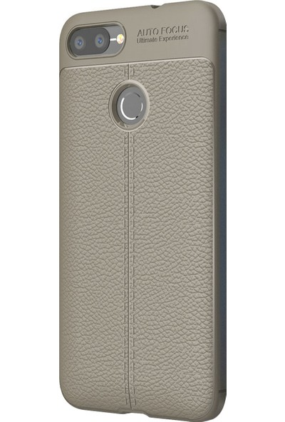 Microsonic Asus Zenfone Max Plus M1 (5.7'') ZB570TL Kılıf Deri Dokulu Silikon Gri