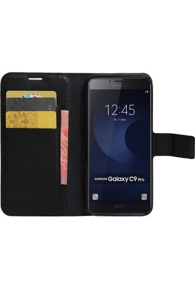 Microsonic Samsung Galaxy C9 Pro Cüzdanlı Kılıf Siyah
