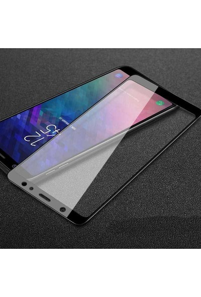 Microsonic Samsung Galaxy A6 2018 Tam Kaplayan Temperli Cam Ekran Koruyucu Film Siyah