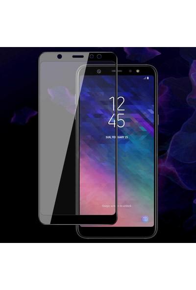 Microsonic Samsung Galaxy A6 Plus 2018 Tam Kaplayan Temperli Cam Ekran Koruyucu Film Siyah