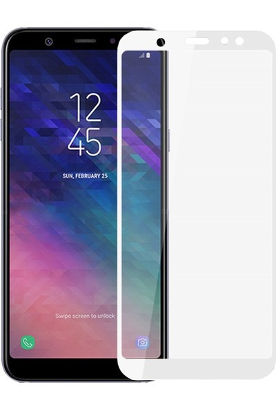 Microsonic Samsung Galaxy A6 Plus 2018 Tam Kaplayan Temperli Cam Ekran Koruyucu Film Beyaz