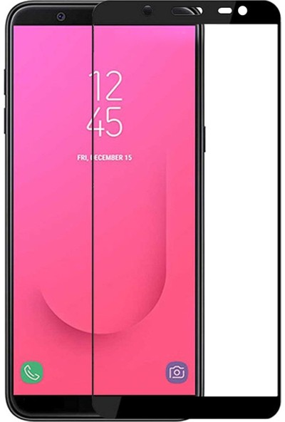 Microsonic Samsung Galaxy J8 Tam Kaplayan Temperli Cam Ekran Koruyucu Film Siyah