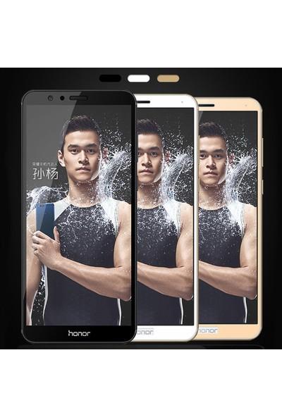 Microsonic Huawei Honor 7X Tam Kaplayan Temperli Cam Ekran Koruyucu Film Beyaz