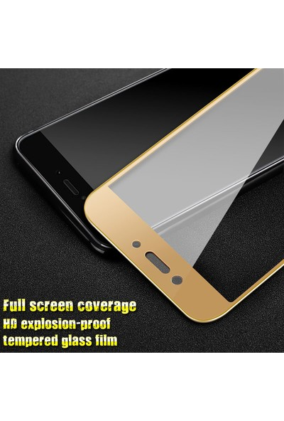 Microsonic Xiaomi Redmi 5A Tam Kaplayan Temperli Cam Ekran Koruyucu Film Gold