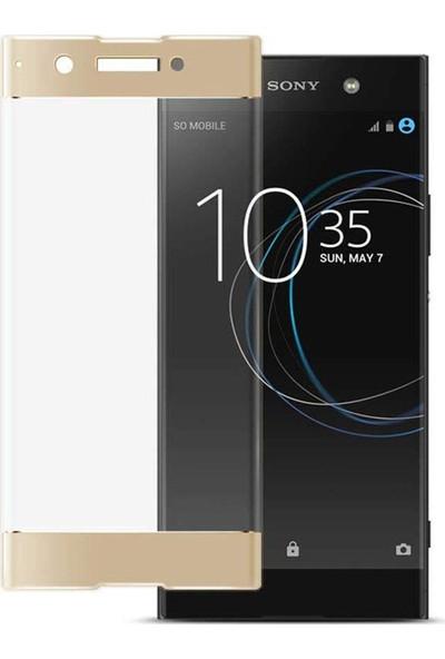 Microsonic Sony Xperia XA1 Plus Tam Kaplayan Temperli Cam Ekran Koruyucu Film Gold