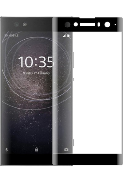 Microsonic Sony Xperia XA2 Ultra Tam Kaplayan Temperli Cam Ekran Koruyucu Film Siyah