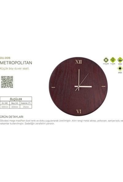 Woodenplus Marka Metropolitan Modeli Ahşap Duvar Saati