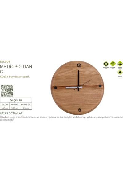 Woodenplus Marka Metropolitan C Modeli Ahşap Duvar Saati