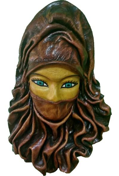 CajuArt Dekoratif Kahverengi Peçeli Kadın Deri Duvar Mask Duvar Süs Maske