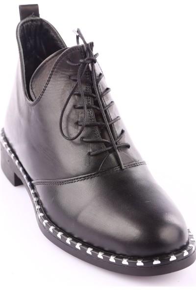 Dgn 18196 Kadın Pencere Detaylı Oxford Bilek Ayakkabı Siyah