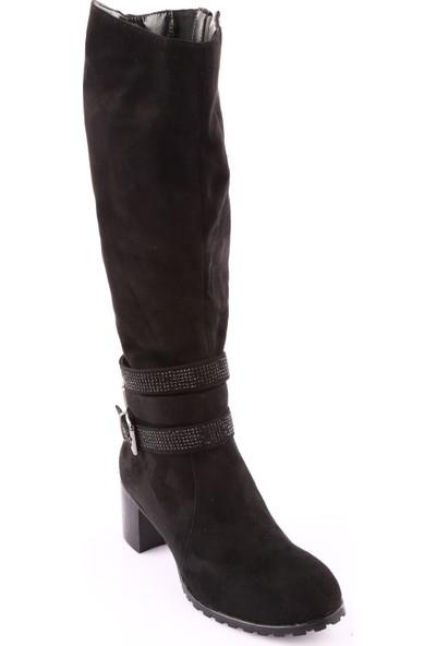 Guja 18K105-6 Kadın Knee High Topuklu Çizme Siyah Süet
