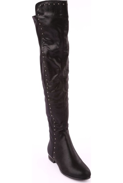Guja 18K221 Kadın Arkası Stretch Thigh High Troklu Çizme Siyah