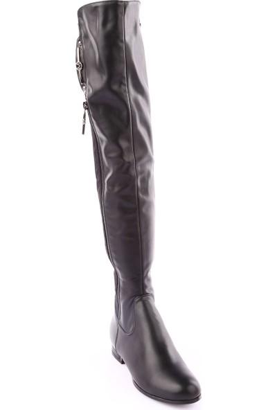 Guja 18K221-11 Kadın Arkası Stretch Thigh High Aksesuarlı Çizme Siyah