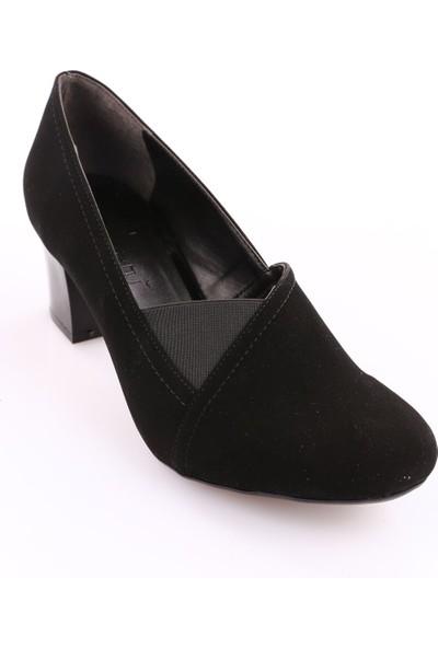 Beety 23 Kadın Yuvarlak Burun Topuklu Ayakkabı Siyah Velvet