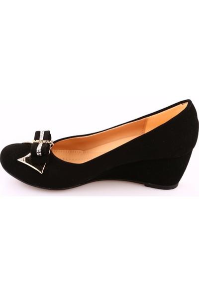 Dgn 310 Kadın Yuvarlak Burun Önü Tokalı Dolgu Taban Ayakkabı Siyah Velvet