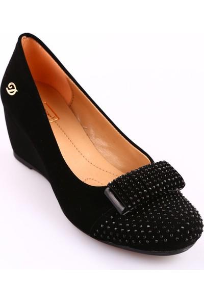 Dgn 335 Kadın Yuvarlak Burun Önü Taşlı Dolgu Taban Ayakkabı Siyah Velvet