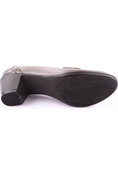 Dgn 351 Kadın Yuvarlak Burun 7 Pont Topuklu Ayakkabı Gri