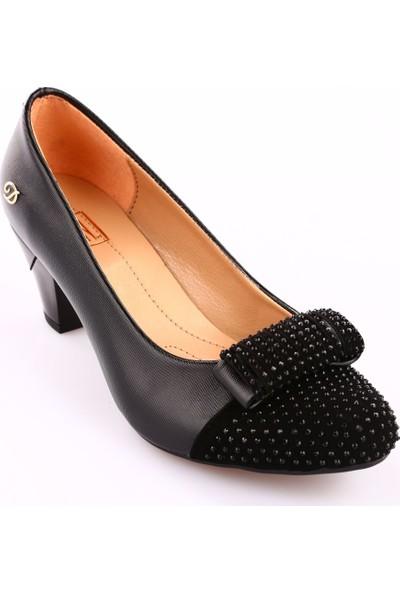 Dgn 437 Kadın Yuvarlak Burun Önü Taşlı Topuklu Ayakkabı Siyah Lazer