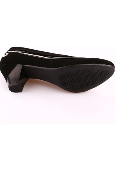 Dgn 438 Kadın Yuvarlak Burun Topuklu Ayakkabı Siyah Velvet