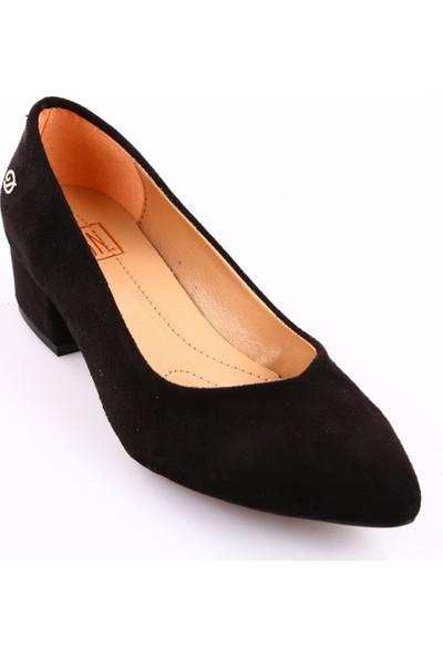 Dgn 600 Kadın Sivri Burun U Kesim Dekolte Alçak Topuklu Ayakkabı Siyah Süet