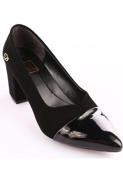 Dgn 602 Kadın Sivri Burun Topuklu Ayakkabı Siyah Velvet