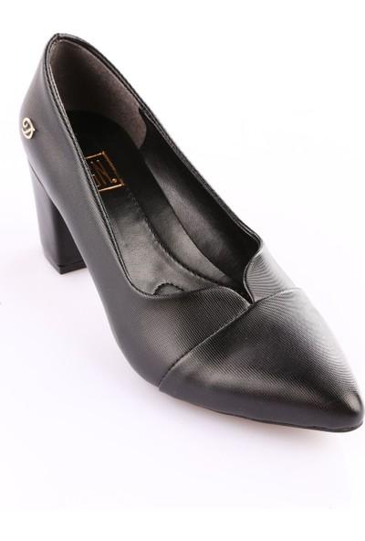 Dgn 602 Kadın Sivri Burun Topuklu Ayakkabı Siyah Lazer