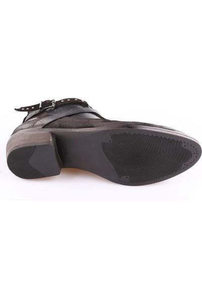 Mamma Mia D18Kb-1695 Kadın Ayakkabı Bot Siyah Yarma Süet