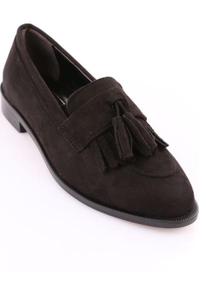 Dgn K1923 Kadın Sivri Burun Oxford Ayakkabı Siyah Süet