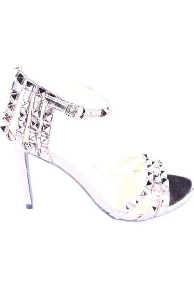Viva 182-8348 Kadın Bilekten Bağlı Valentino Abiye Ayakkabı Pewter