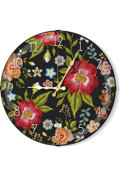 The Mia Duvar Saati - Floral B 35 Cm