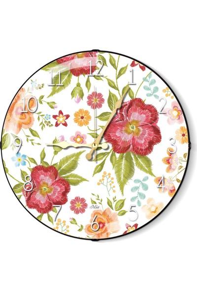 The Mia Duvar Saati - Floral C 35 Cm