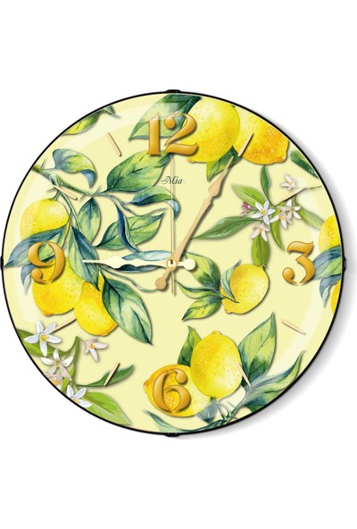 The Mia Duvar Saati - Limon Sarı 35 Cm