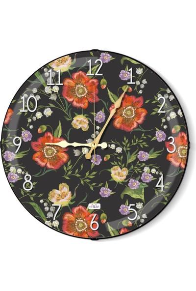 The Mia Duvar Saati - Floral A 35 Cm
