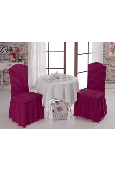 Eslem Home Bürümcük Sandalye Örtüsü 6 Adet Bordo