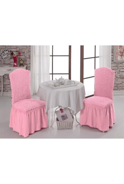 Eslem Home Bürümcük Sandalye Örtüsü 6 Adet Pudra