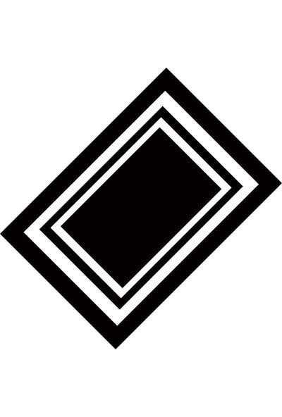 Cici Halı Siyah Zemin Beyaz Kareler Dekoratif Halı-90x200