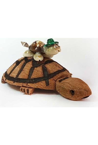 Turkuaz Coco Kaplumbağa İkili Biblo 7cm*11cm*6cm