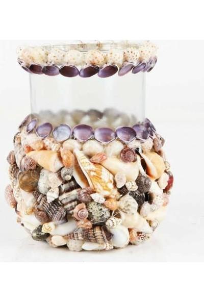 Turkuaz Doğal Deniz Kabuğu ile Tasarlanmış Cam Vazo 12 cm * 10 cm